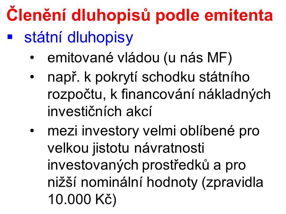 Členění dluhopisů podle emitenta  státní dluhopisy emitované vládou (u nás MF) např.