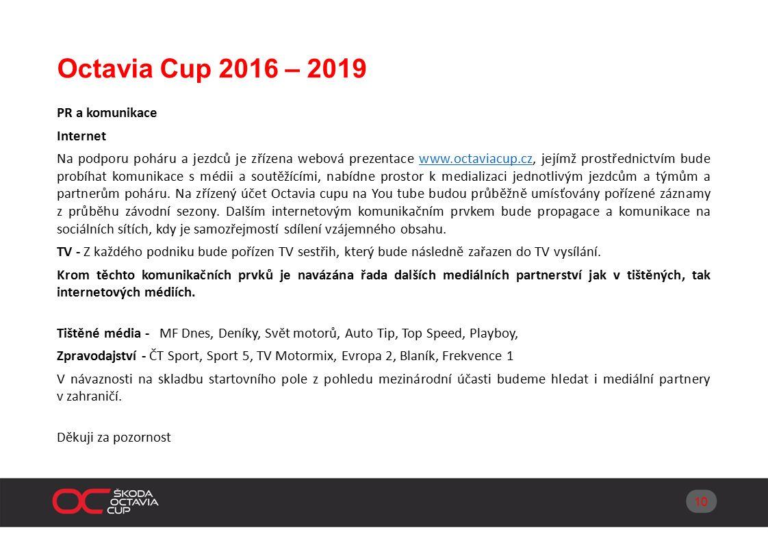 Octavia Cup 2016 – 2019 PR a komunikace Internet Na podporu poháru a jezdců je zřízena webová prezentace www.octaviacup.cz, jejímž prostřednictvím bude probíhat komunikace s médii a soutěžícími, nabídne prostor k medializaci jednotlivým jezdcům a týmům a partnerům poháru.