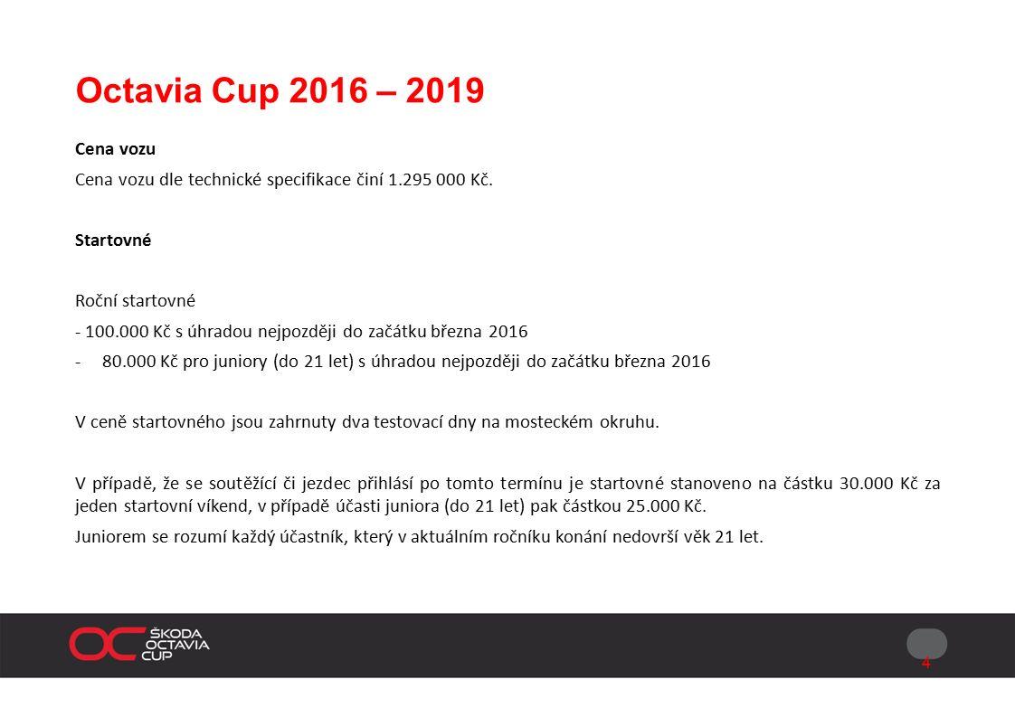 Octavia Cup 2016 – 2019 Formát závodního víkendu Při každém podniku budou vždy vypsány 1 kvalifikační trénink v délce 30 min., 2 samostatně bodované závody v délce 55-70 km (25–30 min).
