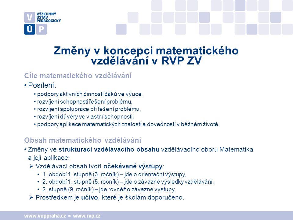 Změny v koncepci matematického vzdělávání v RVP ZV Cíle matematického vzdělávání Posílení: podpory aktivních činností žáků ve výuce, rozvíjení schopno