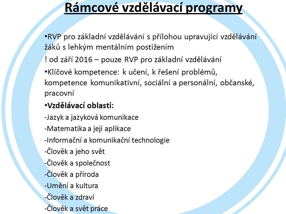Rámcové vzdělávací programy RVP pro základní vzdělávání s přílohou upravující vzdělávání žáků s lehkým mentálním postižením .
