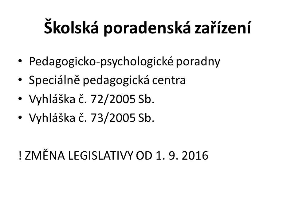 Školská poradenská zařízení Pedagogicko-psychologické poradny Speciálně pedagogická centra Vyhláška č.