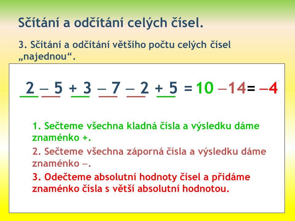 """Sčítání a odčítání celých čísel. 3. Sčítání a odčítání většího počtu celých čísel """"najednou"""". 2  5 + 3  7  2 + 5 = 1. Sečteme všechna kladná čísla"""
