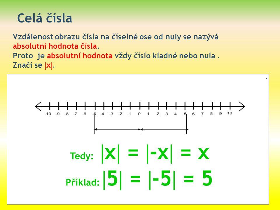 Celá čísla Vzdálenost obrazu čísla na číselné ose od nuly se nazývá absolutní hodnota čísla. Proto je absolutní hodnota vždy číslo kladné nebo nula. Z