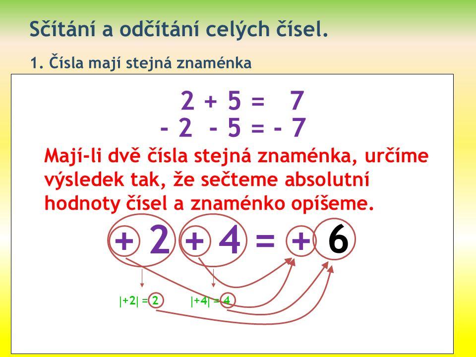 Sčítání a odčítání celých čísel. 1. Čísla mají stejná znaménka 2 + 5 = 7 - 2 - 5 = - 7 Mají-li dvě čísla stejná znaménka, určíme výsledek tak, že sečt