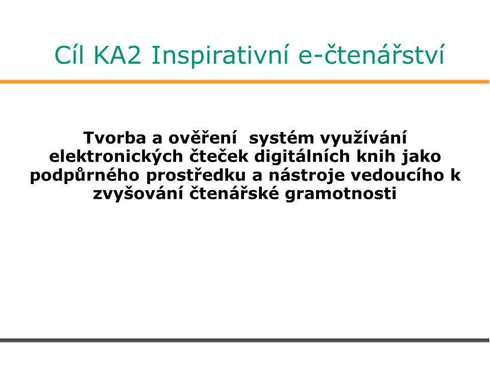 Cíl KA2 Inspirativní e-čtenářství Tvorba a ověření systém využívání elektronických čteček digitálních knih jako podpůrného prostředku a nástroje vedoucího k zvyšování čtenářské gramotnosti