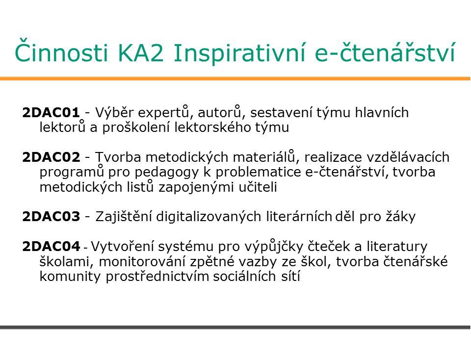 Činnosti KA2 Inspirativní e-čtenářství 2DAC01 - Výběr expertů, autorů, sestavení týmu hlavních lektorů a proškolení lektorského týmu 2DAC02 - Tvorba metodických materiálů, realizace vzdělávacích programů pro pedagogy k problematice e-čtenářství, tvorba metodických listů zapojenými učiteli 2DAC03 - Zajištění digitalizovaných literárních děl pro žáky 2DAC04 - Vytvoření systému pro výpůjčky čteček a literatury školami, monitorování zpětné vazby ze škol, tvorba čtenářské komunity prostřednictvím sociálních sítí