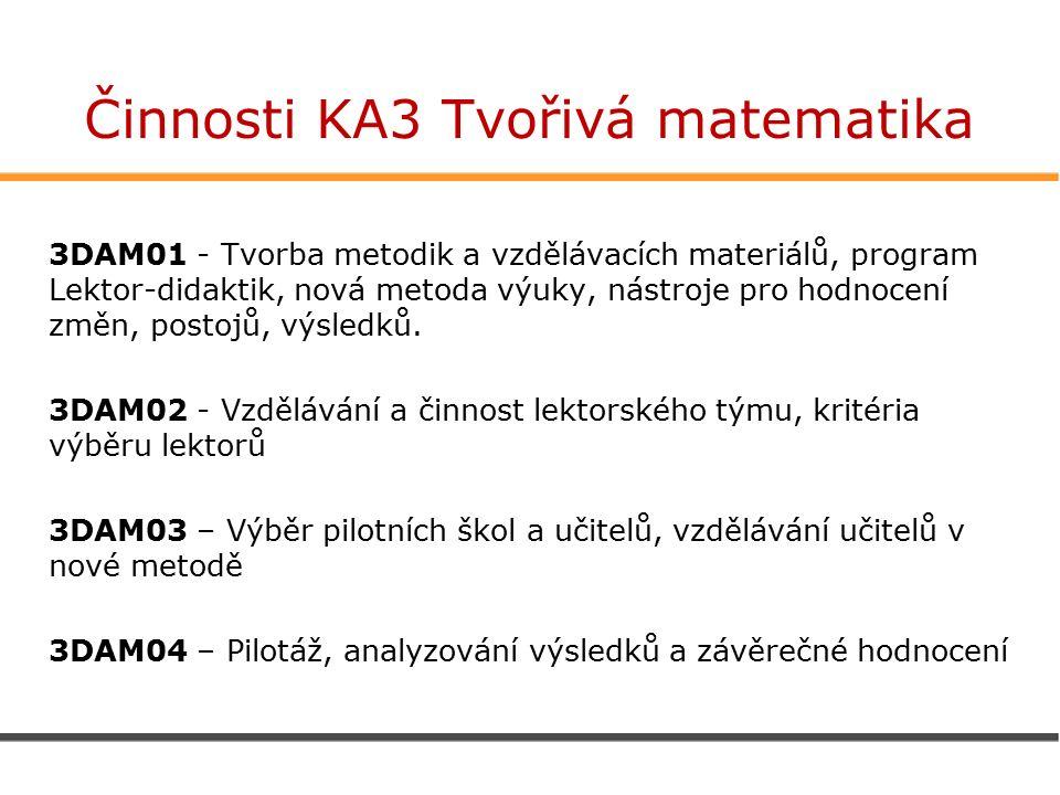 Činnosti KA3 Tvořivá matematika 3DAM01 - Tvorba metodik a vzdělávacích materiálů, program Lektor-didaktik, nová metoda výuky, nástroje pro hodnocení změn, postojů, výsledků.