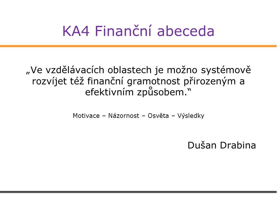 """KA4 Finanční abeceda """"Ve vzdělávacích oblastech je možno systémově rozvíjet též finanční gramotnost přirozeným a efektivním způsobem. Motivace – Názornost – Osvěta – Výsledky Dušan Drabina"""
