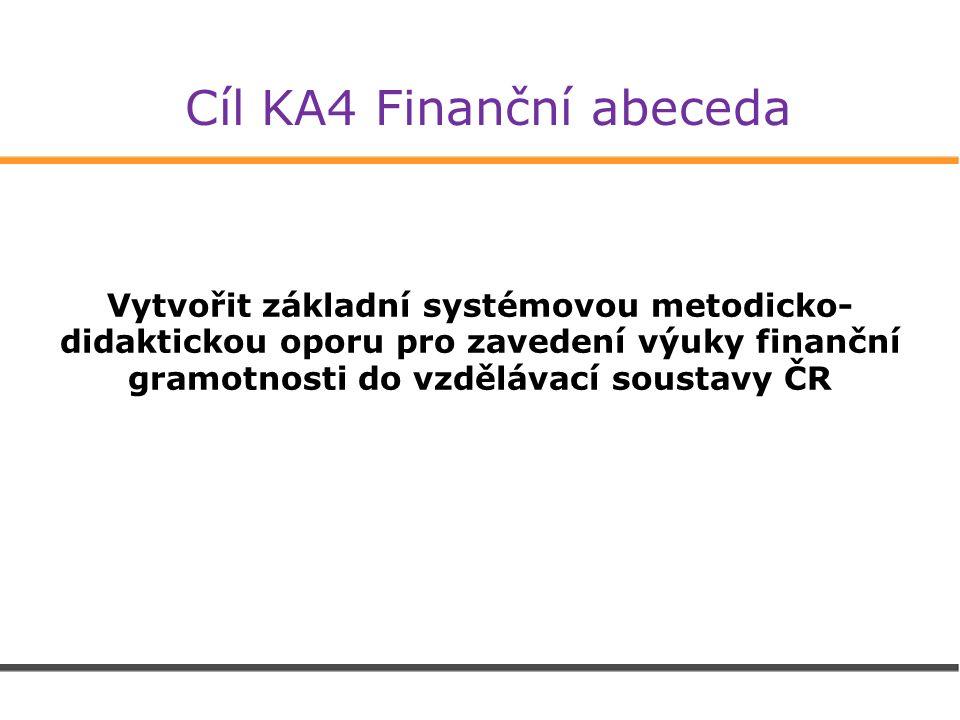 Cíl KA4 Finanční abeceda Vytvořit základní systémovou metodicko- didaktickou oporu pro zavedení výuky finanční gramotnosti do vzdělávací soustavy ČR