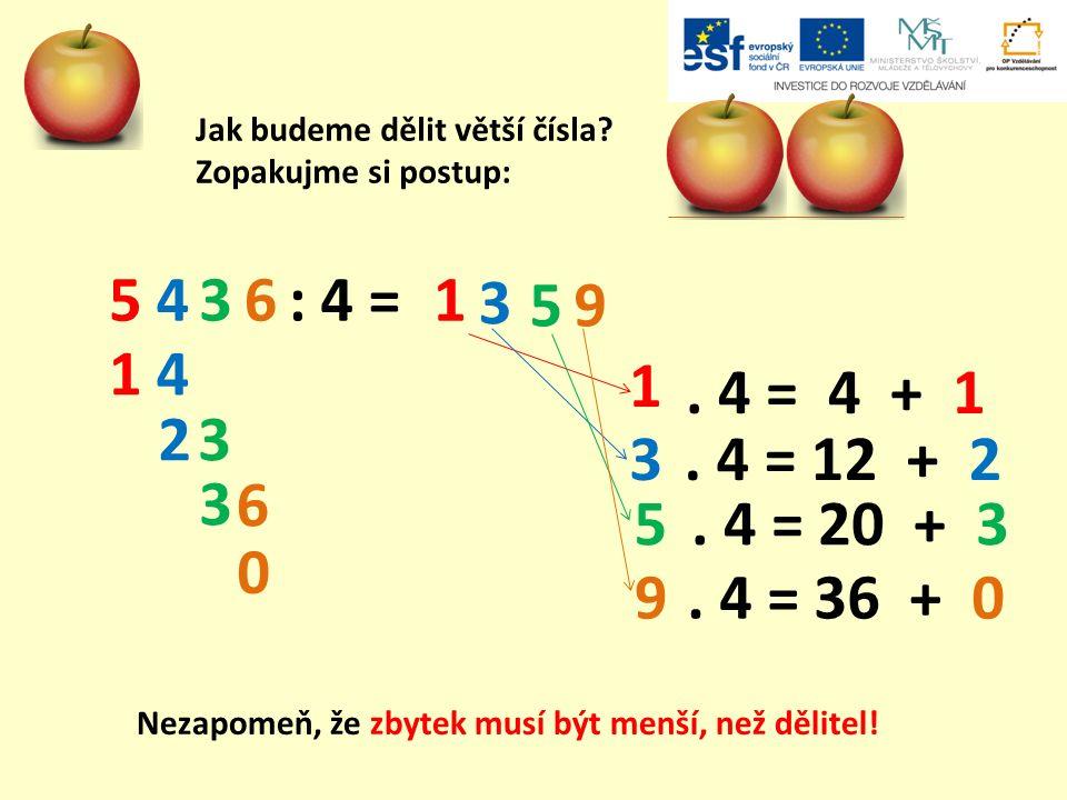Jak budeme dělit větší čísla? Zopakujme si postup: : 4 =54361 5 3 4 1 3. 4 = 4 + 1 1 3 9 2. 4 = 12 + 2. 4 = 20 + 3. 4 = 36 + 0 5 3 6 9 0 Nezapomeň, že