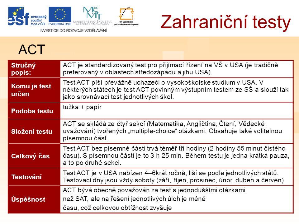 Zahraniční testy ACT Stručný popis: ACT je standardizovaný test pro přijímací řízení na VŠ v USA (je tradičně preferovaný v oblastech středozápadu a jihu USA).