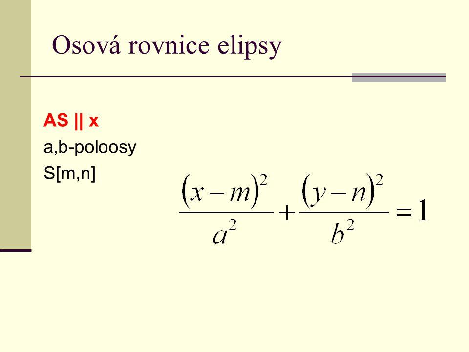 Osová rovnice elipsy AS || x a,b-poloosy S[m,n]