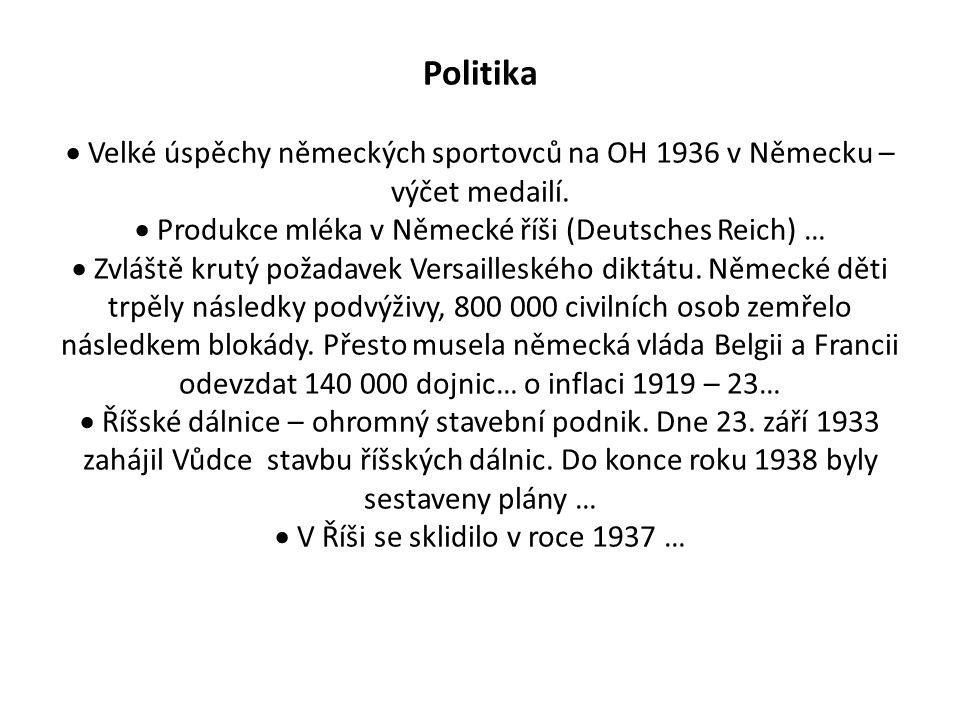 Politika  Velké úspěchy německých sportovců na OH 1936 v Německu – výčet medailí.  Produkce mléka v Německé říši (Deutsches Reich) …  Zvláště krutý