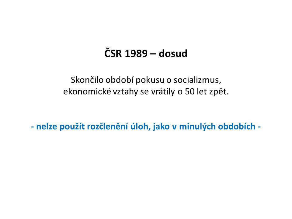ČSR 1989 – dosud Skončilo období pokusu o socializmus, ekonomické vztahy se vrátily o 50 let zpět. - nelze použít rozčlenění úloh, jako v minulých obd