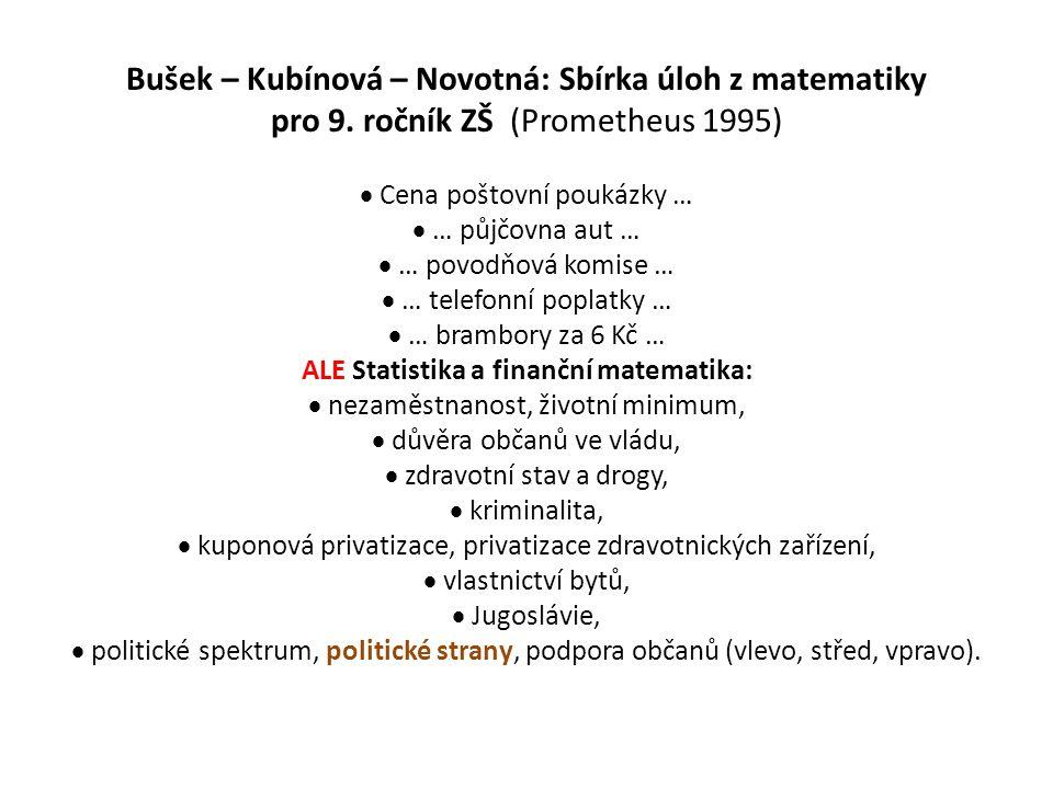 Bušek – Kubínová – Novotná: Sbírka úloh z matematiky pro 9. ročník ZŠ (Prometheus 1995)  Cena poštovní poukázky …  … půjčovna aut …  … povodňová ko