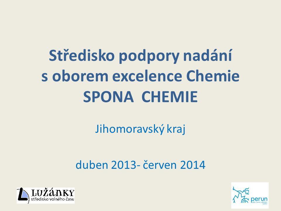 Středisko podpory nadání s oborem excelence Chemie SPONA CHEMIE Jihomoravský kraj duben 2013- červen 2014