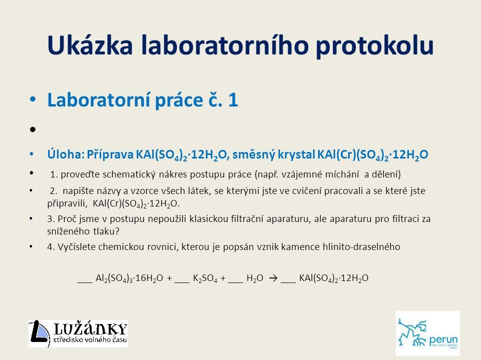 Ukázka laboratorního protokolu Laboratorní práce č.