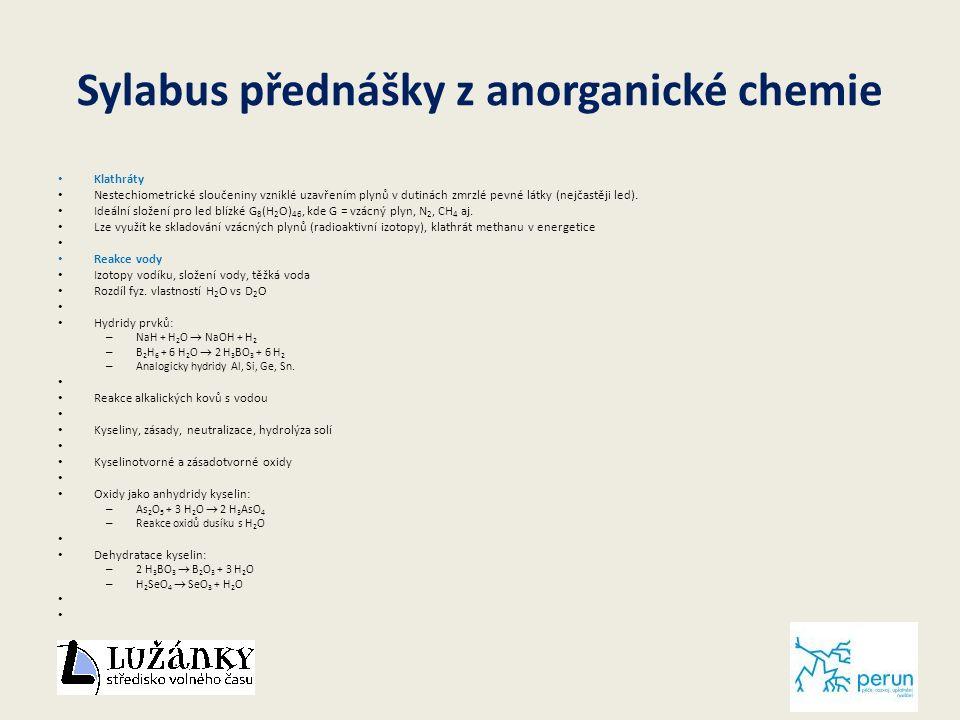 Sylabus přednášky z anorganické chemie Klathráty Nestechiometrické sloučeniny vzniklé uzavřením plynů v dutinách zmrzlé pevné látky (nejčastěji led).