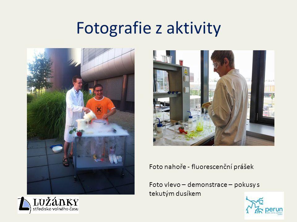 Fotografie z aktivity Fl Foto nahoře - fluorescenční prášek Foto vlevo – demonstrace – pokusy s tekutým dusíkem