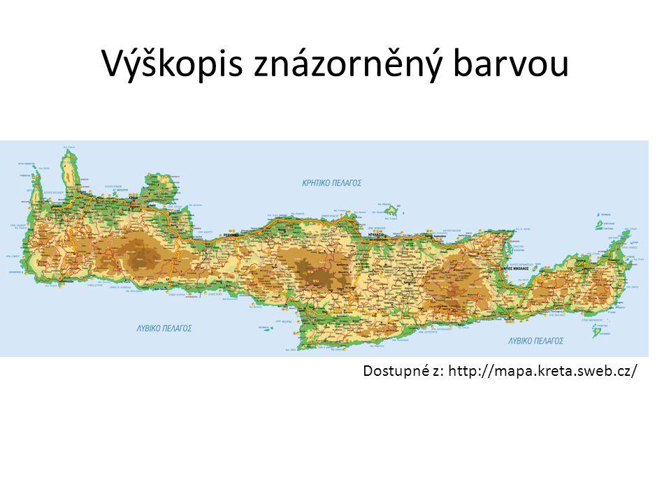 Výškopis znázorněný barvou Dostupné z: http://mapa.kreta.sweb.cz/
