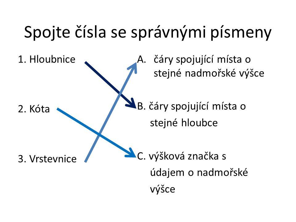 Spojte čísla se správnými písmeny 1. Hloubnice 2. Kóta 3. Vrstevnice A.čáry spojující místa o stejné nadmořské výšce B. čáry spojující místa o stejné