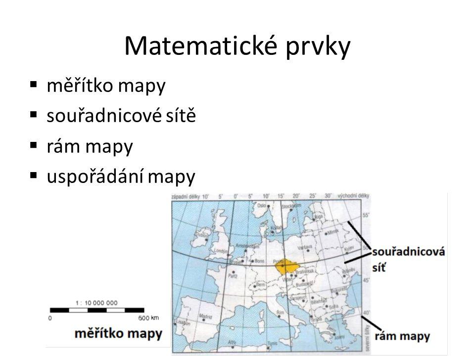 Matematické prvky  měřítko mapy  souřadnicové sítě  rám mapy  uspořádání mapy