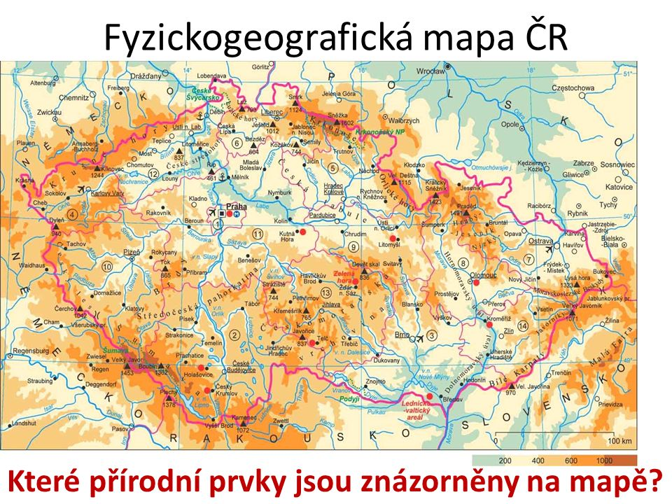 Fyzickogeografická mapa ČR Které přírodní prvky jsou znázorněny na mapě?