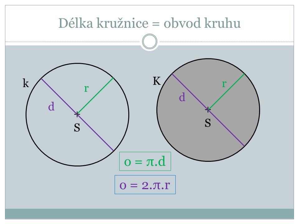 Délka kružnice = obvod kruhu k r +S+S d K +S+S r d o = π.d o = 2.π.r