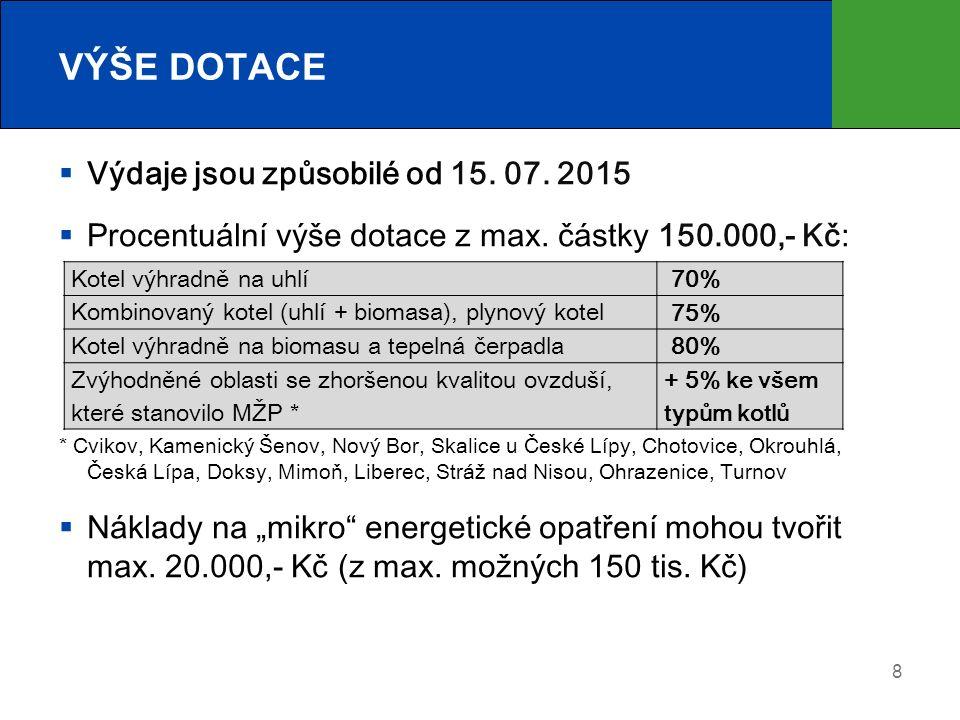 8 VÝŠE DOTACE  Výdaje jsou způsobilé od 15. 07. 2015  Procentuální výše dotace z max.