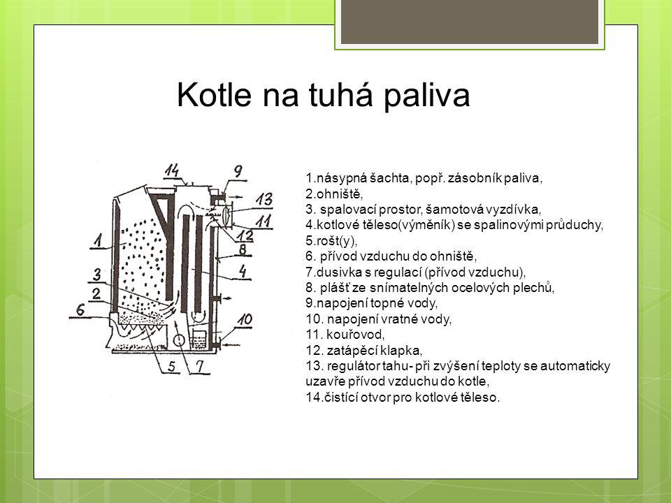 Kotle na tuhá paliva Montáž kotlů na tuhá paliva – kotlové těleso je dodáno jako komplet : napojení kouřovodu na kouřové hrdlo a na komín, napojení topné a vratné vody na výstupní hrdla, montáž prvků pro obsluhu (roštovací páka, osazení horního víka, přikládacích dvířek), zaslepení nepotřebných otvorů článků kotlů litinových zátkami, zkompletování vyzdívky, propojení regulátoru tahu s dusivkou, montáž teploměru, tlakoměru, namontování vypouštěcího a napouštěcího kohoutu, montáž pojišťovacího ventilu a jeho přepadu, montáž armatur lze provést jako montáž kotlové soupravy (nejjednodušší varianta- pojišťovací ventil, tlakoměr, odvzdušňovací ventil- napojení na jedno hrdlo).