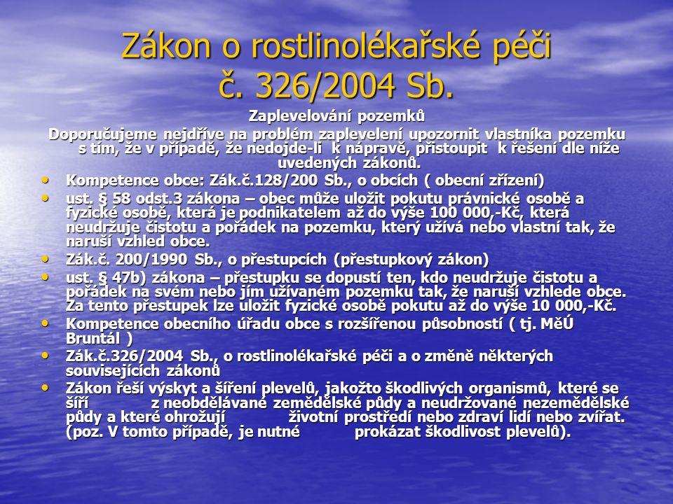 Zákon o rostlinolékařské péči č. 326/2004 Sb.