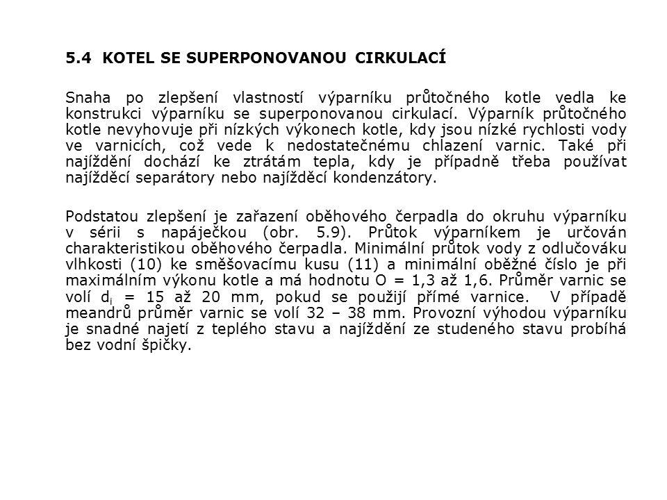 5.4 KOTEL SE SUPERPONOVANOU CIRKULACÍ Snaha po zlepšení vlastností výparníku průtočného kotle vedla ke konstrukci výparníku se superponovanou cirkulací.