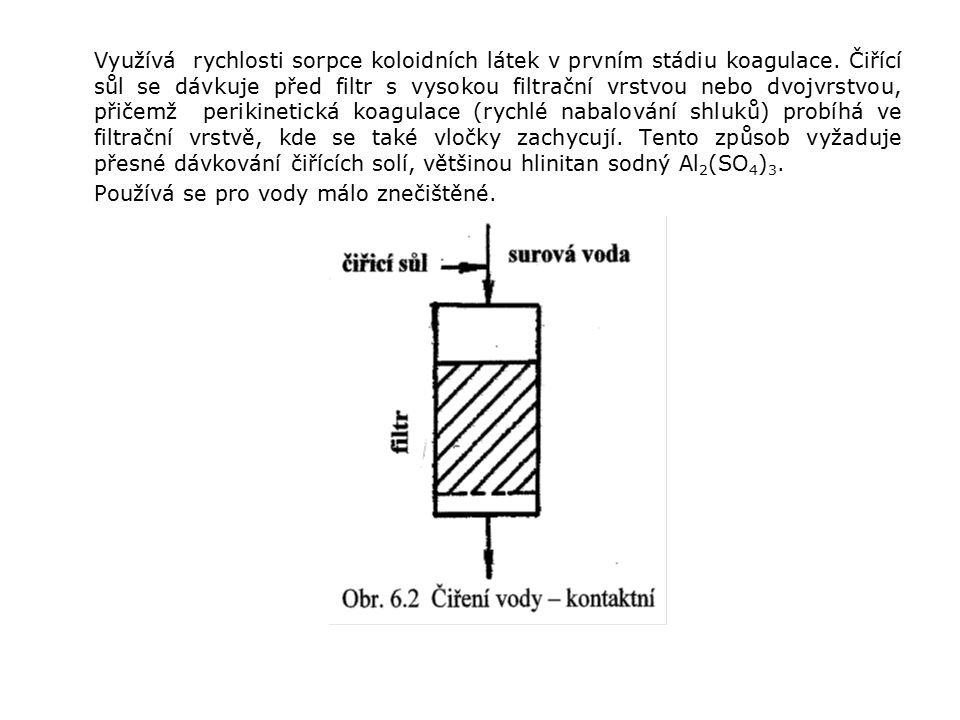 Využívá rychlosti sorpce koloidních látek v prvním stádiu koagulace.