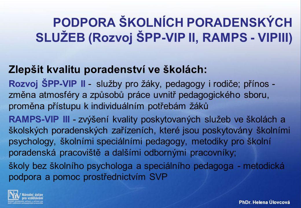 PODPORA ŠKOLNÍCH PORADENSKÝCH SLUŽEB (Rozvoj ŠPP-VIP II, RAMPS - VIPIII) Zlepšit kvalitu poradenství ve školách: Rozvoj ŠPP-VIP II - služby pro žáky, pedagogy i rodiče; přínos - změna atmosféry a způsobů práce uvnitř pedagogického sboru, proměna přístupu k individuálním potřebám žáků RAMPS-VIP III - zvýšení kvality poskytovaných služeb ve školách a školských poradenských zařízeních, které jsou poskytovány školními psychology, školními speciálními pedagogy, metodiky pro školní poradenská pracoviště a dalšími odbornými pracovníky; školy bez školního psychologa a speciálního pedagoga - metodická podpora a pomoc prostřednictvím SVP PhDr.