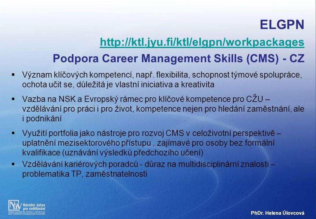 ELGPN http://ktl.jyu.fi/ktl/elgpn/workpackages Podpora Career Management Skills (CMS) - CZ  Význam klíčových kompetencí, např.