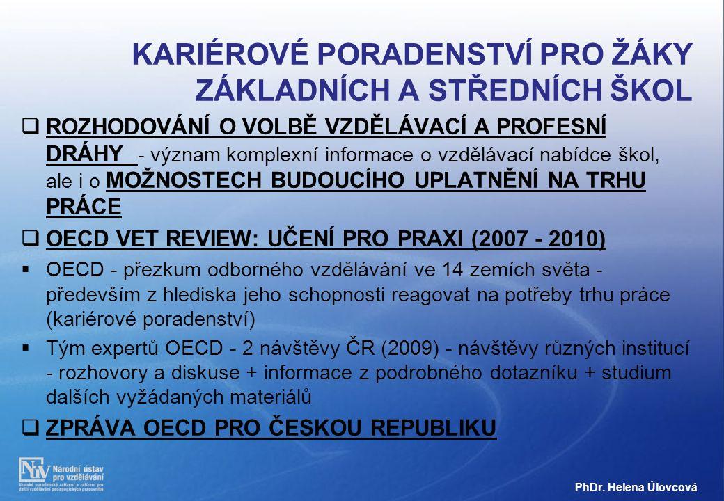 SILNÉ STRÁNKY ČESKÉHO OVP (ZPRÁVA OECD PRO ČESKOU REPUBLIKU) ČESKÝ SYSTÉM OVP MÁ CELOU ŘADU SILNÝCH STRÁNEK:  Česká republika má velmi dobře PROPRACOVANOU DATABÁZI ÚDAJŮ O VZDĚLÁVÁNÍ a o jeho výsledcích v oblasti uplatnění absolventů na trhu práce, jednu z nejlepších, jakou tým OECD viděl (www.infoabsolvent.cz);  PROSTUPNOST VZDĚLÁVACÍCH ÚROVNÍ a zaměření jak v horizontální tak ve vertikální rovině je velmi dobrá PhDr.