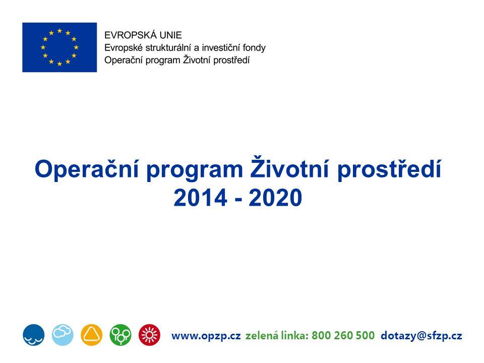 Operační program Životní prostředí 2014–2020 OPŽP 2014–2020 zaměřením navazuje na OPŽP 2007– 2013 využívá získaných zkušeností, které směřují k nastavení efektivního a kvalitního systému podpory ochrany životního prostředí více koncentrován na identifikované prioritní problémy, zejména v PO 2 (snížení emisí z lokálního vytápění domácností) a PO 5 (snížení energetické náročnosti budov a zvýšení využití obnovitelných zdrojů energie) MMR – NOK (Národní orgán pro koordinaci) 2