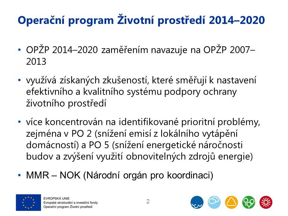 Operační program Životní prostředí 2014–2020 OPŽP 2014–2020 zaměřením navazuje na OPŽP 2007– 2013 využívá získaných zkušeností, které směřují k nastav