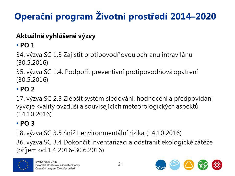 Operační program Životní prostředí 2014–2020 Aktuálně vyhlášené výzvy PO 1 34. výzva SC 1.3 Zajistit protipovodňovou ochranu intravilánu (30.5.2016) 3