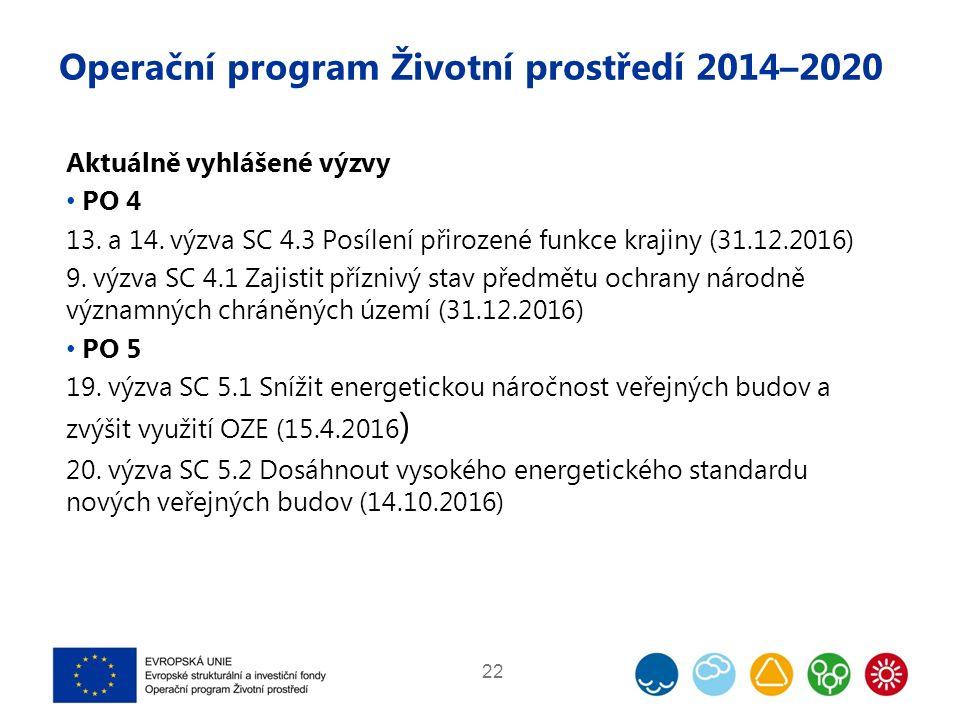 Operační program Životní prostředí 2014–2020 Aktuálně vyhlášené výzvy PO 4 13. a 14. výzva SC 4.3 Posílení přirozené funkce krajiny (31.12.2016) 9. vý