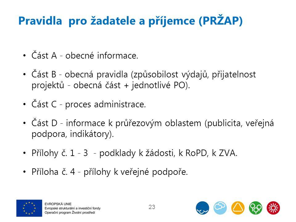 Pravidla pro žadatele a příjemce (PRŽAP) Část A - obecné informace.
