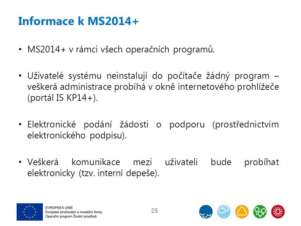 Informace k MS2014+ MS2014+ v rámci všech operačních programů. Uživatelé systému neinstalují do počítače žádný program – veškerá administrace probíhá