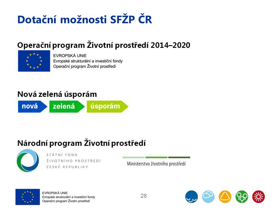 Dotační možnosti SFŽP ČR Operační program Životní prostředí 2014–2020 Nová zelená úsporám Národní program Životní prostředí 26
