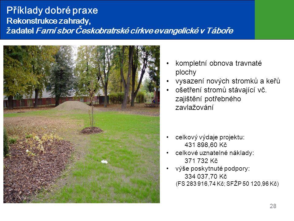 Příklady dobré praxe Rekonstrukce zahrady, žadatel Farní sbor Českobratrské církve evangelické v Táboře 28 kompletní obnova travnaté plochy vysazení nových stromků a keřů ošetření stromů stávající vč.