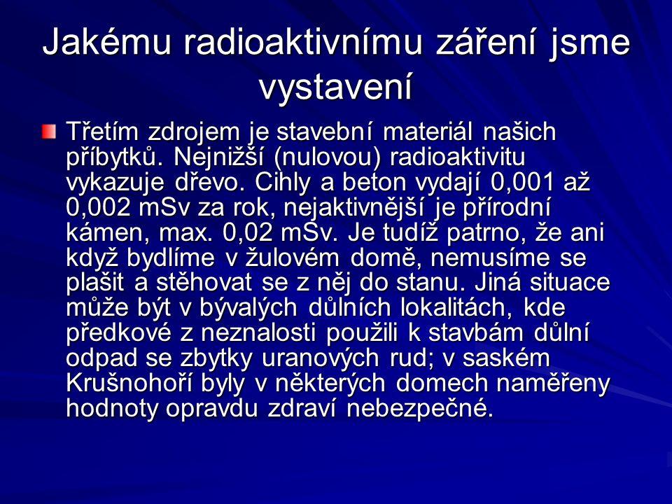 Jakému radioaktivnímu záření jsme vystavení Třetím zdrojem je stavební materiál našich příbytků. Nejnižší (nulovou) radioaktivitu vykazuje dřevo. Cihl