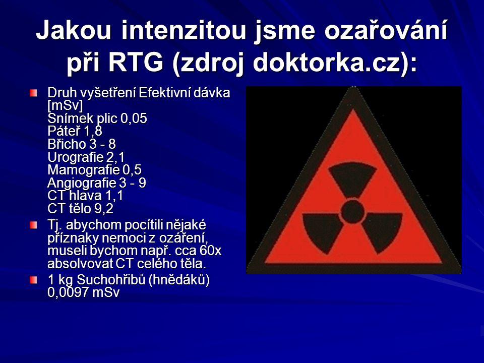 Jakou intenzitou jsme ozařování při RTG (zdroj doktorka.cz): Druh vyšetření Efektivní dávka [mSv] Snímek plic 0,05 Páteř 1,8 Břicho 3 - 8 Urografie 2,1 Mamografie 0,5 Angiografie 3 - 9 CT hlava 1,1 CT tělo 9,2 Tj.