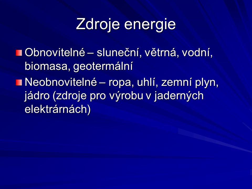 Zdroje energie Obnovitelné – sluneční, větrná, vodní, biomasa, geotermální Neobnovitelné – ropa, uhlí, zemní plyn, jádro (zdroje pro výrobu v jaderných elektrárnách)
