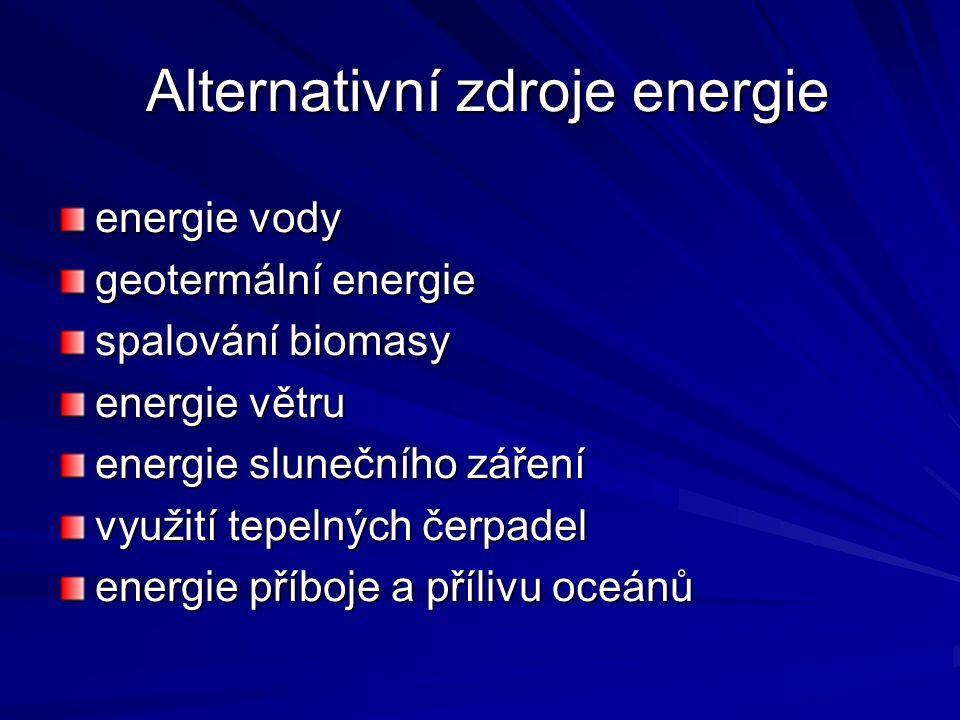 Alternativní zdroje energie Alternativní zdroje energie energie vody geotermální energie spalování biomasy energie větru energie slunečního záření využití tepelných čerpadel energie příboje a přílivu oceánů