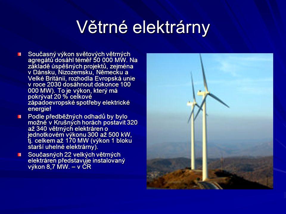 Větrné elektrárny Současný výkon světových větrných agregátů dosáhl téměř 50 000 MW. Na základě úspěšných projektů, zejména v Dánsku, Nizozemsku, Něme